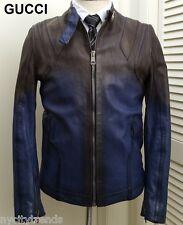 GUCCI leather jacket black blue motorcycle biker cafe racer slim runway 40 50 M
