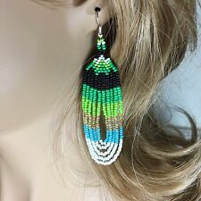 NEW GREEN WHITE GOLD BEADED NATIVE INSPIRED STYLE HANDCRAFTED HOOK EARRINGS