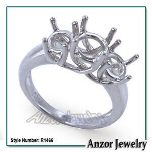 950 Pure Platinum 3 Stone Trellis Ring Setting R1466