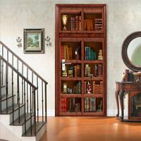 3D Wall Art Retro Bookshelf Book Door Sticker PVC Decal Self-adhesive Wrap Mural