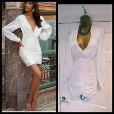 Club L London BNWT Sexy White Plunge Ruched Organza Long Sleeve Bodycon Dress 8