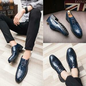 New Oxfords Mens business Brogue Shoes Lace Up Leather Dress Formal Wing Tip Hot