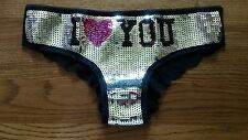 Victoria's secret PINK limited edition sequin I Love You fashion show panty NWT!