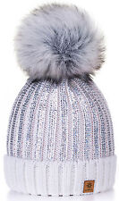 Women Winter Beanie Hat Knitted CRYSTAL Ladies Fashion Large Pom Pom Gold Circle