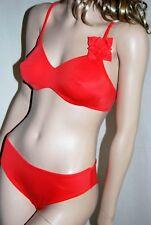 LA PERLA MARVEL Set Bikini Bügel BH 36 38 Türkis Slip gefüttert Blume FM-MAV-19