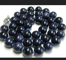 Pretty 10mm Dark Blue Galaxy Sitara Sun Sandstone Round Gems Beads Necklace 18''