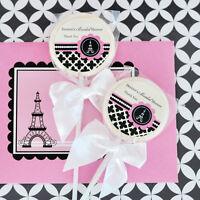 24 Parisian Paris Lollipops Personalized Lollipop Bridal Shower Wedding Favors
