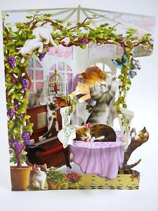 CONSERVATORY KITTY CATS Greeting Card 3-D  Swing Card by Santoro Graphics 118