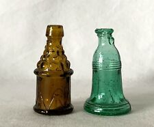 Vintage Pair Miniature Empty Glass Bottles Green Liberty Bell + Other