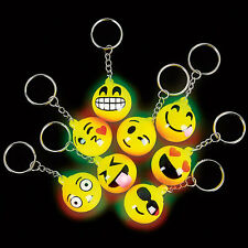 12 PCS Light Up Emoji Keychains Emoticon Flashing LED Emotions Favors Key Chains