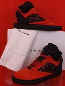 BALENCIAGA RED SUEDE BLACK MESH NEOPRENE STRAP HI TOP SNEAKERS 41 US 8 412349