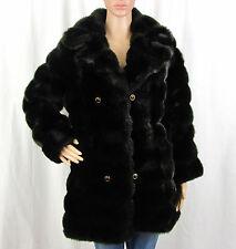 VTG '70s '80s '90s Womens XL Royal Mink Hillmoor Dark Faux Fur Coat Union Made
