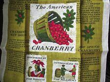 Vtg Linen Tea Towel Kitchen Cape Cod Cotton Cranberries 17x30 New