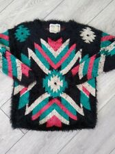 Ladies Black Multi Vintage Oversized 90s Fluffy Mohair Geo Print Jumper Size 10