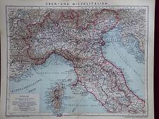 Landkarte, Ober- und Mittelitalien, Venedig, Brockhaus 1904