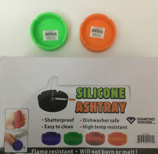 2 Pc Silicone Ashtray Flame Resistant Shatterproof 5 Colors Available
