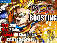 Dragon Ball Fighter Z PS4 Mod Max Zeni Z Coin Characters LVL 100 (Not A Game)