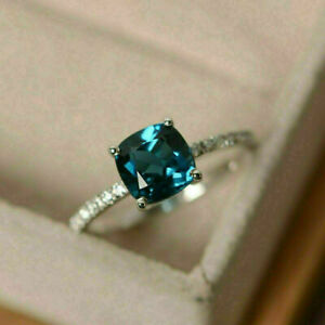 2Ct Cushion Cut London Blue Topaz Solitaire Engagement Ring 14K White Gold Over.