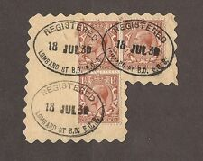 1930 GEORGE V THREE HALF PENCE STAMPS WITH NICE REGISTERED CANCELS