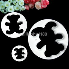 3pcs Lovely Teddy Bear Cookie Fondant Cake Icing Cutter Mold Biscuit Decor Set