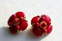 Vintage Red & Gold Tone Beaded Cluster Clip On Earrings