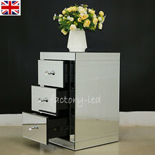 Mirrored Furniture Glass 3 Drawers Bedside Cabinet Crystal Table Storage Home UK