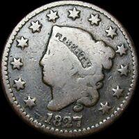 1827 Coronet Head Large Cent Penny  ---- Nice L@@K ---- #J965