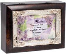 Mom Madre Spanish Dark Wood Finish Jewelry Music Box Plays Tune Amazing Grace