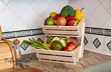 2 Tier wooden Vegetable fruit food storage rack white pine