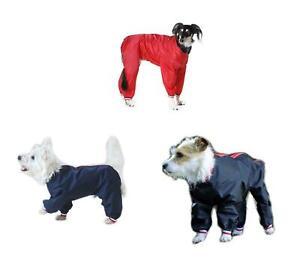 Waterproof Nylon Dog Trouser Suit  Dog Coat Red Black or Navy