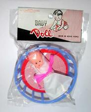 1960'S Unopened Dime Store Toy Vtg Plastic Baby Doll N Basket, Vinyl Blanket iop