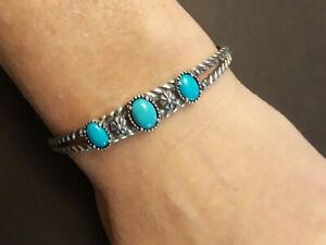 Carolyn Pollack Relios Sterling Silver Turquoise Concho Twisted Cuff Bracelet