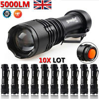 10pcs Lot 5000LM CREE Q5 LED AA/14500 ZOOMABLE Tactical Flashlight Torch Lamp UK