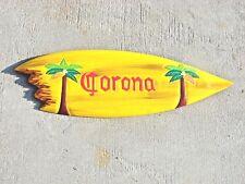 "20"" CORONA HAND CARVED WOOD SIGN WALL ART ISLAND TROPICAL PATIO TIKI DECOR"