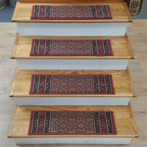 """Rug Depot 13 Traditional Non Slip Carpet Stair Treads 26"""" x 8"""" Brick Red - Poly"""