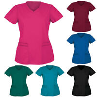 Men Women Short Sleeve V-neck Nursing Uniform Blouse Scrub Tops with Pocket - UK