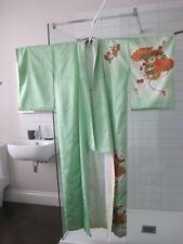 Vintage Japanese Kimono Furisode Green*