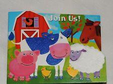 BARNYARD /FARM 8 NOVELTY INVITATIONS  W/ENVELOPES BIRTHDAY-CHILD  PARTY SUPPLIES
