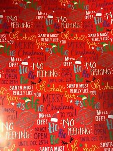 12m 24m 36m 48m RED DO NOT OPEN WRAPPING PAPER CHRISTMAS PRESENTS NO PEEKING ELF