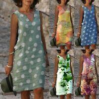 Women Casual Boho Print Dress V-Neck Swing Short Sleeve Loose Beach Mini Dress