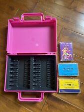 Vintage 90s CLIK!CASE Pink Hard Plastic Cassette Storage For 16 - Lot w 3 Tapes
