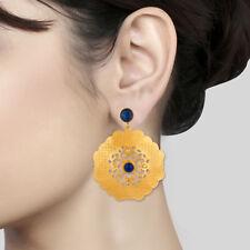 18K Gold Plated Blue Aventurine Lapis Lazuli Handmade Dangle Earrings Jewelry