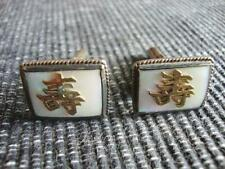 Vintage Sterling Mother of Pearl Japanese Symbol Cufflinks