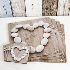 Set of 4 Placemats & Coasters Table Place Settings Mats Pebble Heart Shabby Chic