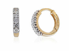 Pave 0.27 Cts Natural Diamonds Hoop Earrings In Solid Certified 18K Yellow Gold