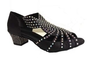 Ladies Diamante Crystal Dance Shoes Ballroom Latin Salsa Line Tango UK 3 - 8