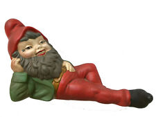 """Vintage 1967 Red Green 12"""" Ceramic Garden Gnome Laying Down Hand-Painted Signed"""