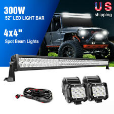 "Nilight 52"" 42"" 32"" 22"" LED Light Bar Spot Flood Combo 4PCS 4"" Work Lamps Wiring"