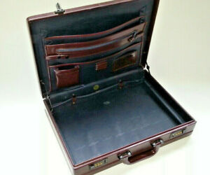 Expandable Attache Faux Leather Briefcase Executive Office Business Travel Case