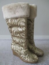 JOAN BOYCE GOLD FULLY SEQUIN FAUX FUR WEDGE BOOTS SIZE 8 1/2 M - NEW W BOX